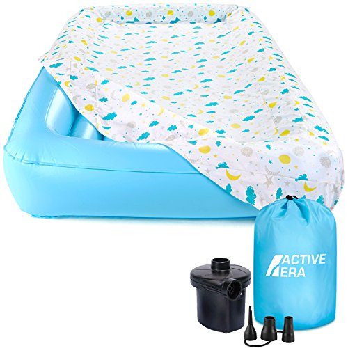 Active Era Kids Air Mattress - Portable Inflatable Travel Air Bed with Toddler Safety Bumpers, Soft...