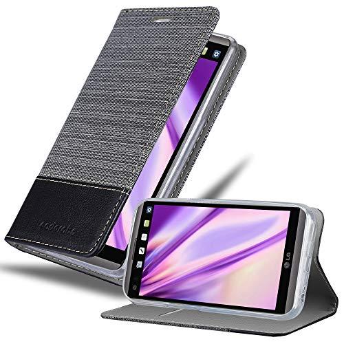 Cadorabo Hülle für LG V20 - Hülle in GRAU SCHWARZ – Handyhülle mit Standfunktion & Kartenfach im Stoff Design - Hülle Cover Schutzhülle Etui Tasche Book