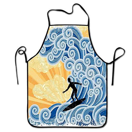 Not Applicable Wellenschürze Kochen, Grill Surfer Slides auf großen stilisierten Wave Curly Design Wasser wirbelt Grunge Retro Spaß Schürze Grill Männer schwarz blau Aprikose