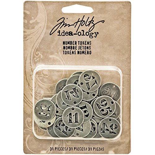 Tim Holtz Idea-ology Metal Number Tokens 31/Pack, 3/4 Inch Each, Antique Nickel (TH93244)