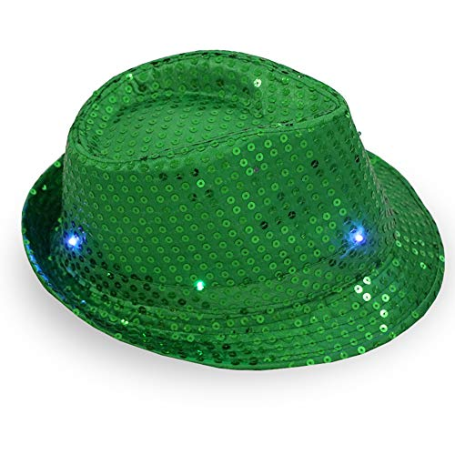 Youlala Party LED Jazz Hut für Mann und Frau, Blinkender Tanzhut mit Pailletten grün