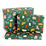Central 23 - Green Wrapping Paper - French Bulldogs - 6 Sheets Birthday Gift Wrap - For Men Women Boys Girls Teenagers - Recyclable