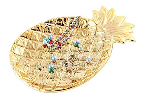Lependor Ceramic Plate Jewelry Tray Jewelry Holder Jewelry Display - Ring Dish - Organizer for Keys - Phone - Jewelry - Watch - Wallet -Trinket - Best Wedding/Birthday - Big Size Golden Pineapple