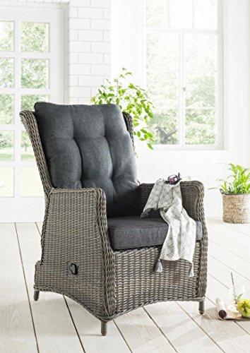 Destiny Sessel Casa Grande Luxe Komfortsessel Verstellsessel Polyrattan vintage grau