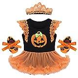 IEFIEL Vestido Calabaza para Bebe Niña Disfraz Halloween Cosplay Conjunto Infantil Pelele con Tutú Body Manga Cortas Banda de Cabeza Calientapiernas Zapatos Negro 9-12 Meses