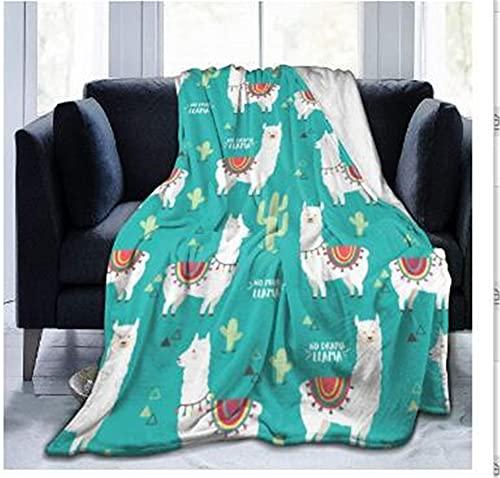 Manta de Franela de Forro Polar Súper Suave Manta de Tiro Linda Alpaca para Niños y Adultos Manta para Sofá Cama Todas Las Estaciones 100 x 150 cm