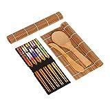 Juego de fabricantes de sushi para principiantes Utensilios de sushi con arroz Paddle palillos Arroz esparcidor balanceo Mats 15pcs sushi Haciendo Kit de Herramientas de bambú natural de sushi Haz tu