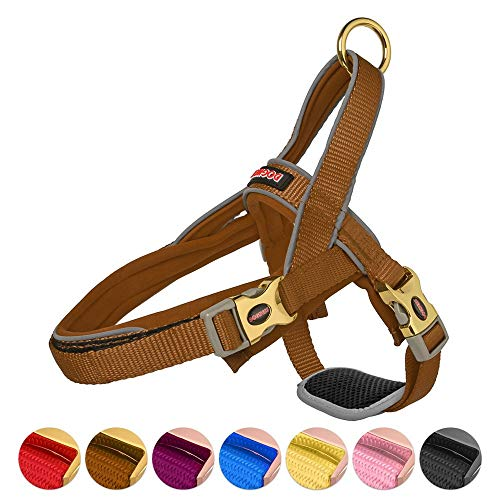 DOGNESS Classic Dog Halter Harness, with Traffic Control Handle Belly Protector Patented Metal Buckle, Reflective Soft Padded Nylon, for Small Medium Large Dogs (XS/S, Brown)