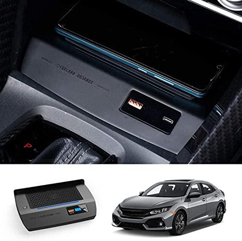 Cargador Inalámbrico Coche para Honda Civic, 3.0 Estaciones de Carga Rápida Compatibles con iPhone,Samsung,Carga Inalámbrica Qi WPC Qi 3.0,Almohadilla de Carga Inalámbrica de 2 Puertos USB de 36W
