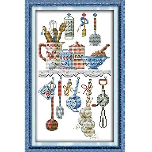 TRJGDCP DIY Keukengerei Cartoon Schilderijen Gekleurde Kruissteek Kits 14CT 11CT Kruissteek Set DIY Borduurwerk Naaldwerk Home Decor Cross Stitch