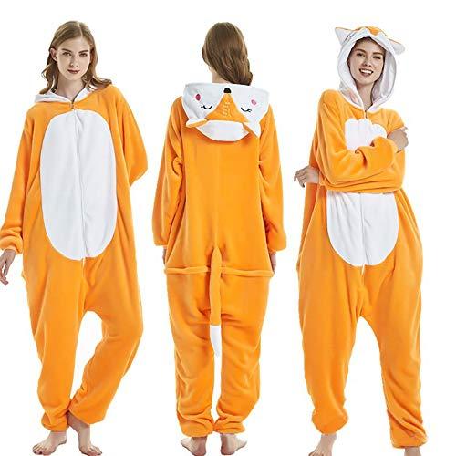 SSM Tier Pyjama Onesies Fasching Halloween Kostüm Schlafanzug Cosplay Pyjama Unisex Erwachsene Damen Karneval Einteiler Fuchs L