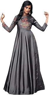 Indian Bollywood Designer Gown Style Abaya Anarkali Dress Women Satin Silk Evening Party 8027 (XX-Large-44, Slate)