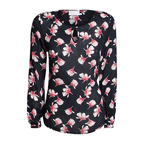 KAFFE Damen Bluse Willa Farbe Schwarz Blumenmuster (34)