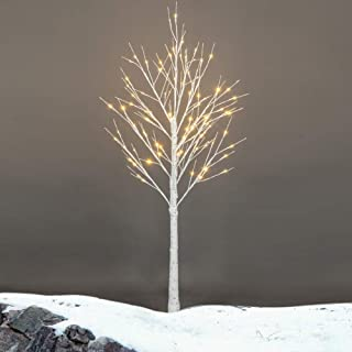 Henf Lighted Birch Tree, 4FT 48 LED White Birch Tree Silver Twig Warm White Christmas Decorations Lighted Tree Decor for Home Party Wedding Holiday (4FT)