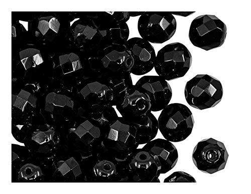 25 pcs Tchèque facettes perles de verre, Fire-Polished ronde 8 mm, Jet Black