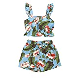 Toddler Kid Baby Girl Print Suspenders Vest Off Shoulder Tops Shorts Outfits