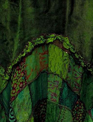 Dark Dreams Gothic Witchy Fairy Pagan Rock Zipfel Pixie Elfe Skirt Samt Spitze Patchwork Ethno Zahide 38 40 42 44 46 48 50, Farbe:grün, Größe:XXL - 3