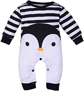 Newborn Infant Baby Boy Girl Jumpsuit for 3-18 Months Cute Cartoon Penguin Print Long Sleeve Romper Pajamas Outfits