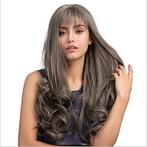 YEMOCILE Damen Weiblich Mittellang stilvoll schick Glatt Künstlich Haar Perücke