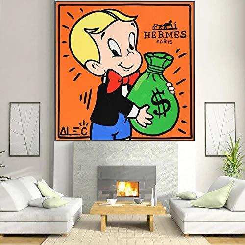wZUN Graffiti Monopoly Wealthy Money Man Lienzo Pintura en Carteles artísticos de Pared y Cuadros artísticos de Pared decoración del hogar 60x60 Sin Marco