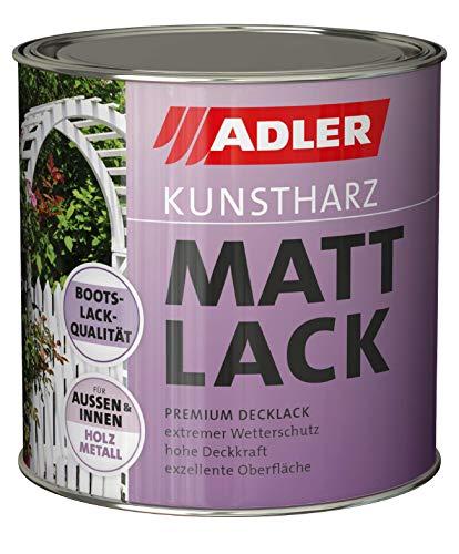 ADLER Kunstharz Mattlack Weiß, Weiß 750 ml - Lack matt, geruchsarm gute Wetterbeständigkeit und hohe Deckkraft - Kunstharzlack in Bootslack Qualität