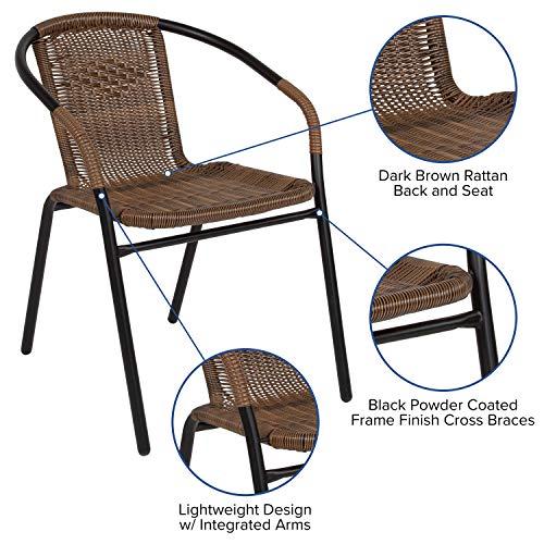 Flash Furniture Dark Brown Rattan Indoor-Outdoor Restaurant Stack Chair