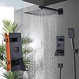 Sistema de ducha para cuarto de baño con 2 funciones, color negro, alcachofa de ducha con 2 vías, pantalla digital, mezclador de 10 pulgadas