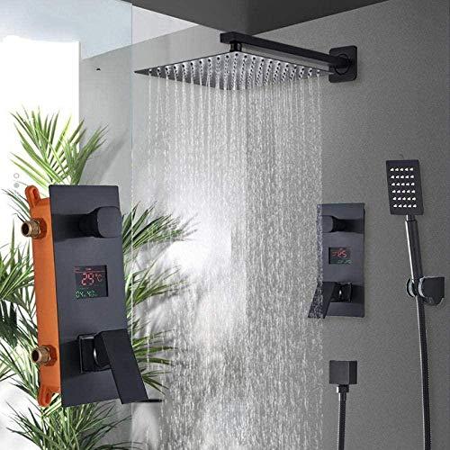 Sistema de ducha para cuarto de baño, 2 funciones, negro, digital, grifo de ducha, ducha de precipitación, 2 vías, pantalla digital, mezclador de ducha, 10 pulgadas