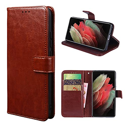 Funda para Nokia C10 Carcasa de Teléfono de Cuero PU Premium Estuche Protector para Billetera con Tapa Magnética, Compatible con Nokia C10, Marrón