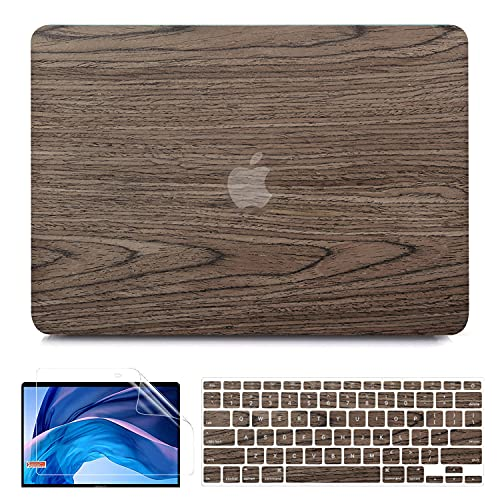 B BELK Compatible with MacBook Air 13 Inch Case 2010-2017 Release Model A1466 A1369, Wood Texture Snap on Protective Hard Shell Case Cover with Keyboard Cover, MacBook Air 13.3 inch Case, Walnut