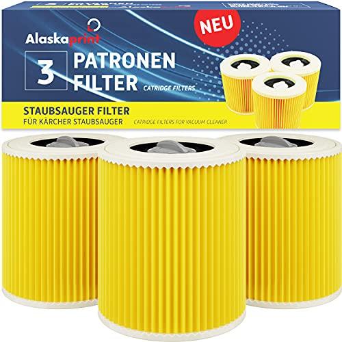 Alaskaprint 3X Filtro de Cartucho, reemplazo de Filtro de Aire para Kärcher WD3 Premium WD2 WD3 MV3 WD3P KIT de extensión reemplazado (6.414-552.0, 6.414-772.0, 6.414-547.0) Aspiradora seca y húmeda