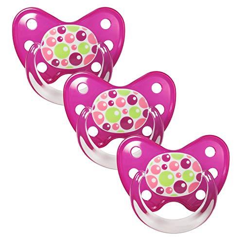Dentistar® Latex Schnuller 3er Set - Baby Nuckel Größe 3 - ab 14 Monate - Naturkautschuk Beruhigungssauger für Babys und Kleinkinder - zahnfreundlich - Made in Germany - BPA frei - Bubbles Pink