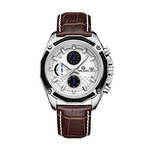 Los hombres Megir del deporte militar piel luminosa cronógrafo FECHA calendario cuarzo reloj de pulsera marrón