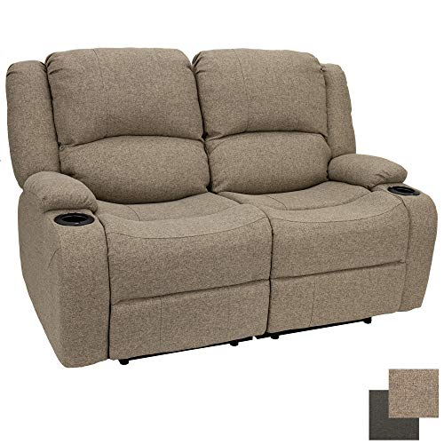 RecPro Charles 58' Powered Double RV Wall Hugger Recliner Sofa   RV Loveseat   RV Furniture   Cloth (Oatmeal)