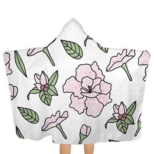 NR Rhododendron-Muster Kinder Kapuzenbadetuch/Badetuch/Strandtuch 81,3 x 134,8 cm, weiches Material, absorbiert und trocknet schnell, Strandtuch mit Kapuze