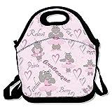 N / A Hippo Ballerina Dancer Lunch Bag Lunch Tote Lunchbox Bolso Reutilizable para Adultos, niños, Aislado, elástico, Reutilizable, Lavable, Cremallera, Trabajo Escolar Oficina Camping Viaje