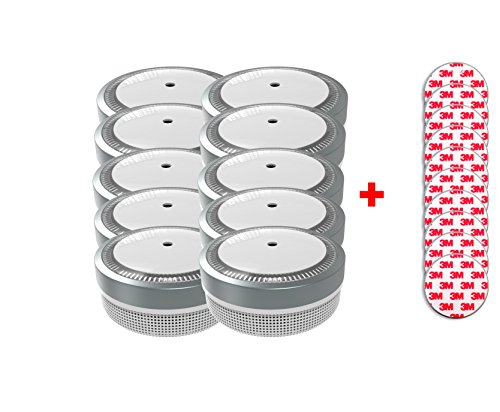 Jeising Mini Rauchmelder RWM100-Grau 10er Set mit Klebepad 3M Premium selbstklebend - 10 Jahres Batterie - VDs