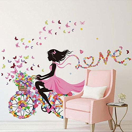 Autocollant Mural pour Chambre d'enfant Papillon Princesse Vélo Fille Art Decal Home Mural