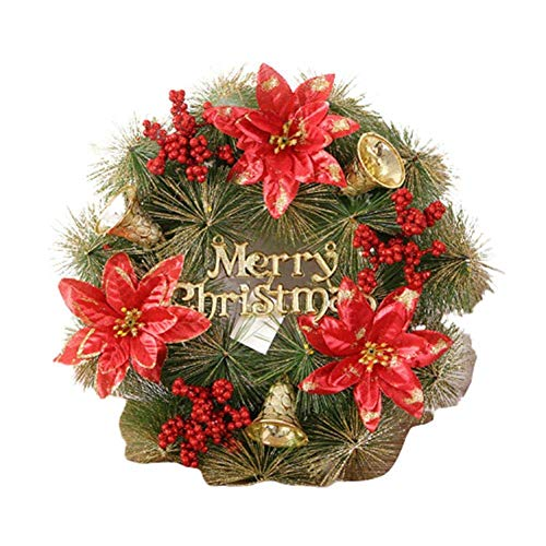 XIAO WEI Artificial Garland with Christmas Wreaths Rattan Wreath with bristles Rattan red Cones Berries 11.81 11.81 inches Festival Party Decorations