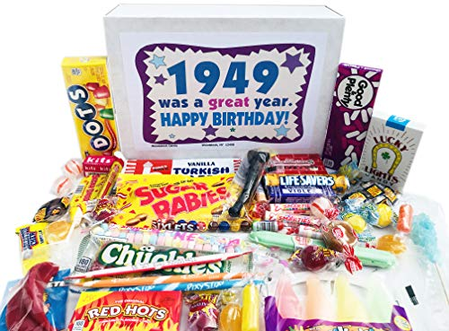 Woodstock Candy - 1949 Gift Box of Retro Candy Assortment from Childhood for 72 Year Old Men and Women Born 1949 - 72nd Birthday...