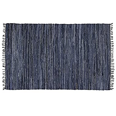 DG Home Goods Chindi 5' x 8' Blue Denim 100% Recycled Cotton Area Rag Rug Natural Woven Fabric