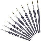 WBYJ 10 Piezas Pinceles para Pintura, Finos Juego de Pinceles para Pintar de Detalle, Miniatura Cepillos para Pintura Brochas Redondas de Arte Profesionales, para Modelos, Acrílico, Acuarela, Óleo