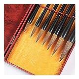 YXCUIDP 7 piezas de lobo de pelo cepillo de la caligrafía Conjunto de lápiz Pintura Suministros de la Escuela Cultura Art Box Con tradicional china Suministros