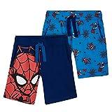 Marvel Short Enfant Spiderman, Lot De 2 Shorts en Coton Motif Super Héro, Idée Cadeau pour Enfant Garçon 2-12 Ans (Bleu, 7-8 Ans)