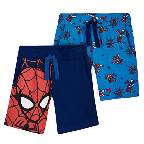 Marvel Short Enfant Spiderman, Lot De 2 Shorts en Coton Motif Super Héro, Idée Cadeau pour Enfant Garçon 2-12 Ans (Bleu, 5-6 Ans)
