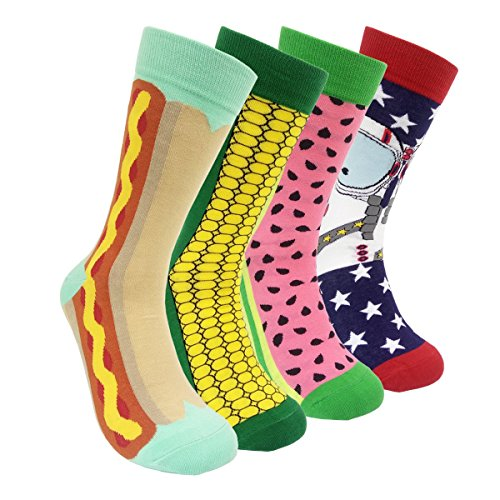 Colorful Mens Dress Socks Funky – HSELL Men Multicolored Crazy Pattern Fashionable Fun Crew Socks 4 Pack (C2) …