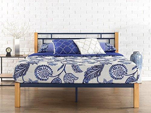 Zinus Taylan Metal and Wood Platform Bed / Mattress Foundation / Wood Slat Support
