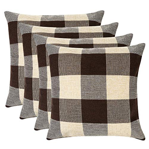 MENGT Pack of 4 Farmhouse Buffalo Check Plaid Cotton Linen Soft Solid Decorative Square Throw Pillow Covers Home Decor Design Set Cushion Case for Sofa Bedroom Car 18 x 18 Inch, Brown and Cream