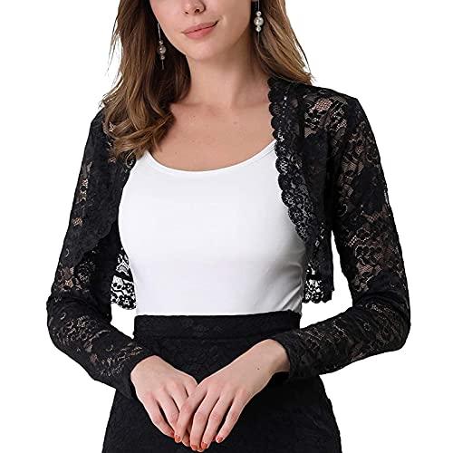 Loalirando Bolero para mujer, de encaje, manga larga, chaleco abierto, color liso, Negro , XL