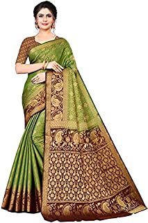 Neerav Exports Banarasi Kanjivaram Silk Traditional Jacquard Saree (Mehendi)